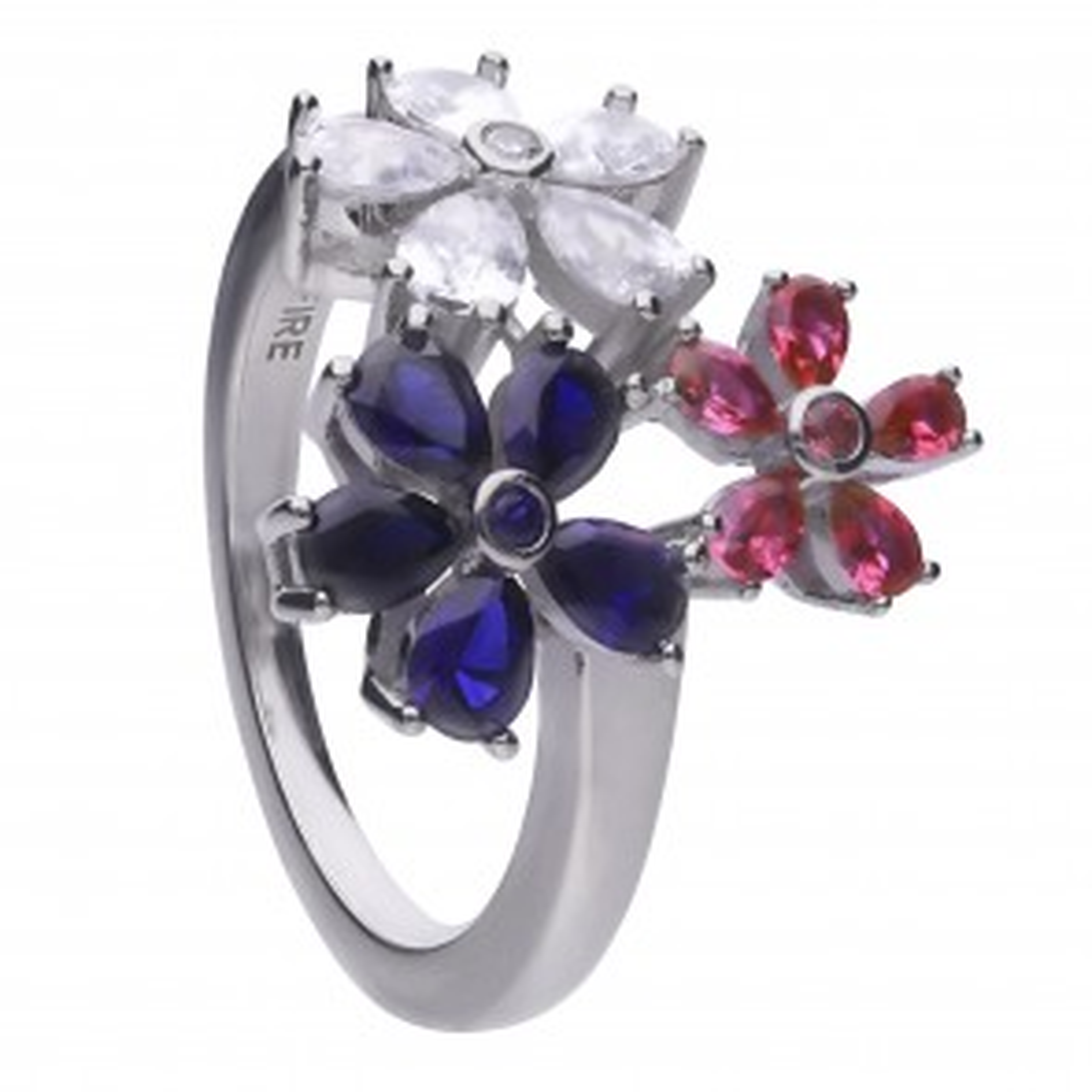 farbenfroher Ring silber im Blüten-Design mit Zirkonia