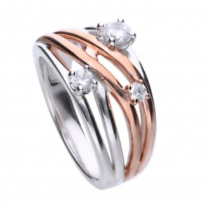 Wickel-Ring bicolor mit Roségold-Plattierung