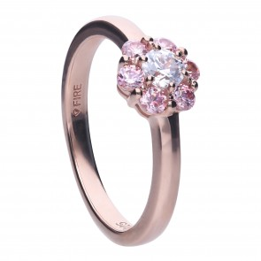 Motiv-Ring in Roségold im Blütendesign mit morganite Zirkonia