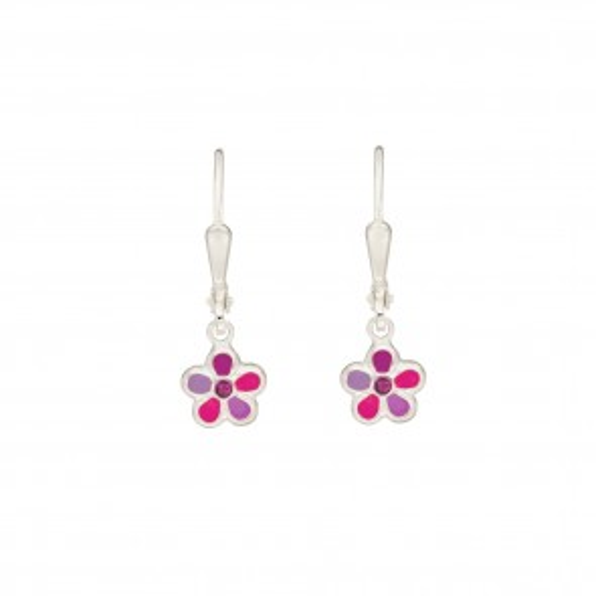 Ohrhänger Blume pink aus Silber 925