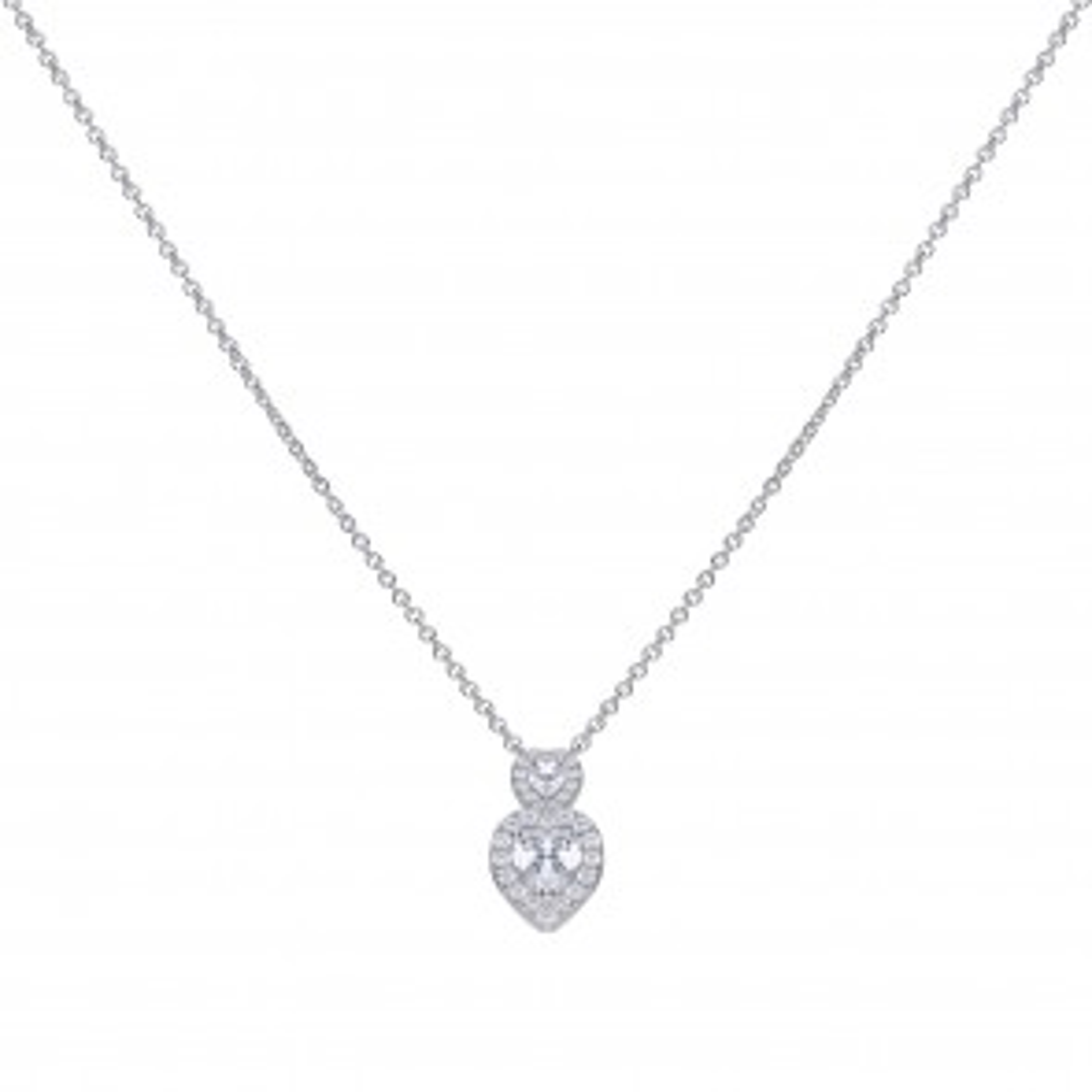 Herz-Collier Silber mit weißen Zirkonia und Pavé-Besatz