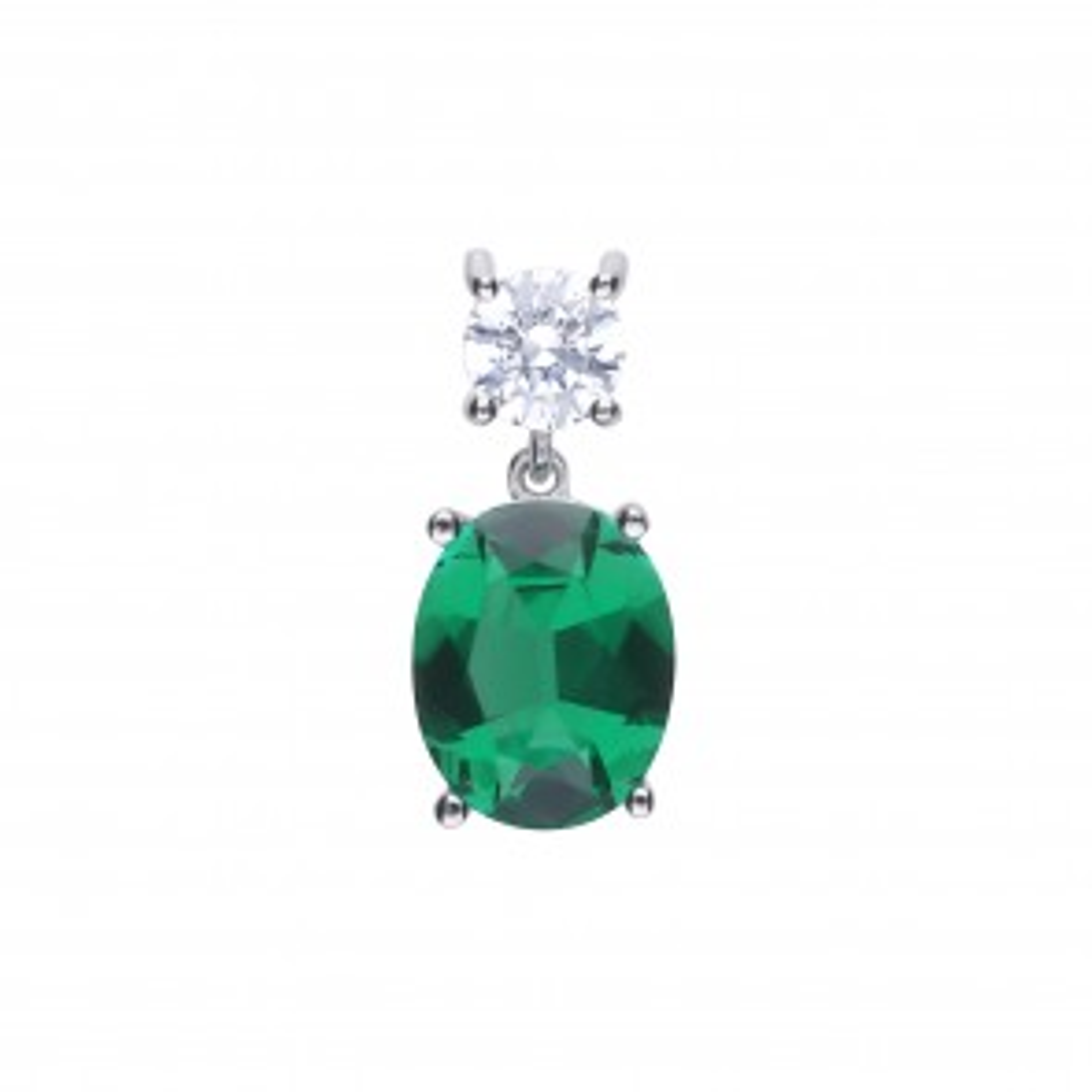 Ovaler Anhänger Silber mit grünem Zirkonia
